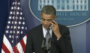 President Obama addresses the nation following the tragic events in Newtown, CT. on 12/14/2012.