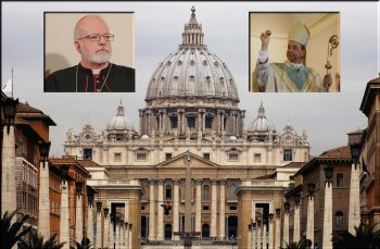 Accomplices to the crime? Insets: l - Cardinal Sean O'Malley, r - ArchBishop William Lori.