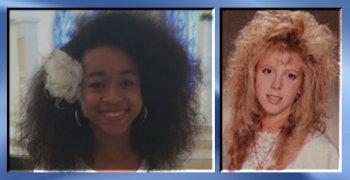l. - Vanessa VanDyke. Photo courtesy of Jezebel Magazine online. r. - An example of 1980's hairstyles.