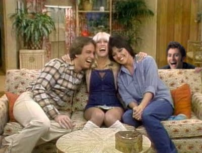 Look who popped up behind the Three's Company couch!