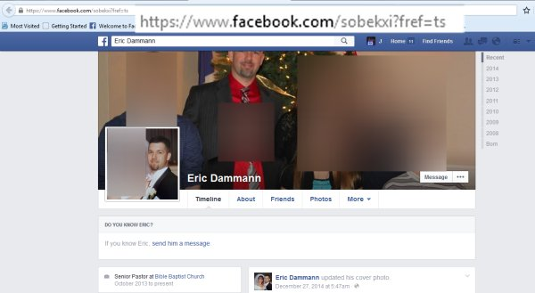 Eric Dammann's now defunct Facebook profile. Note the URL.